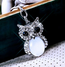Women Lady Crystal Stone Silver Owl Bag Handbag Charm Keyring Keychain For Women
