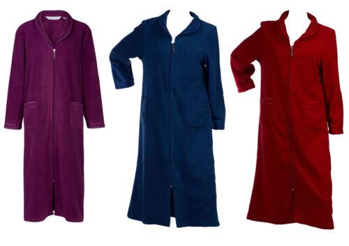 Dressing Gown Womens Zip Up Anti Pill Fleece Slenderella Satin Trim Bathrobe