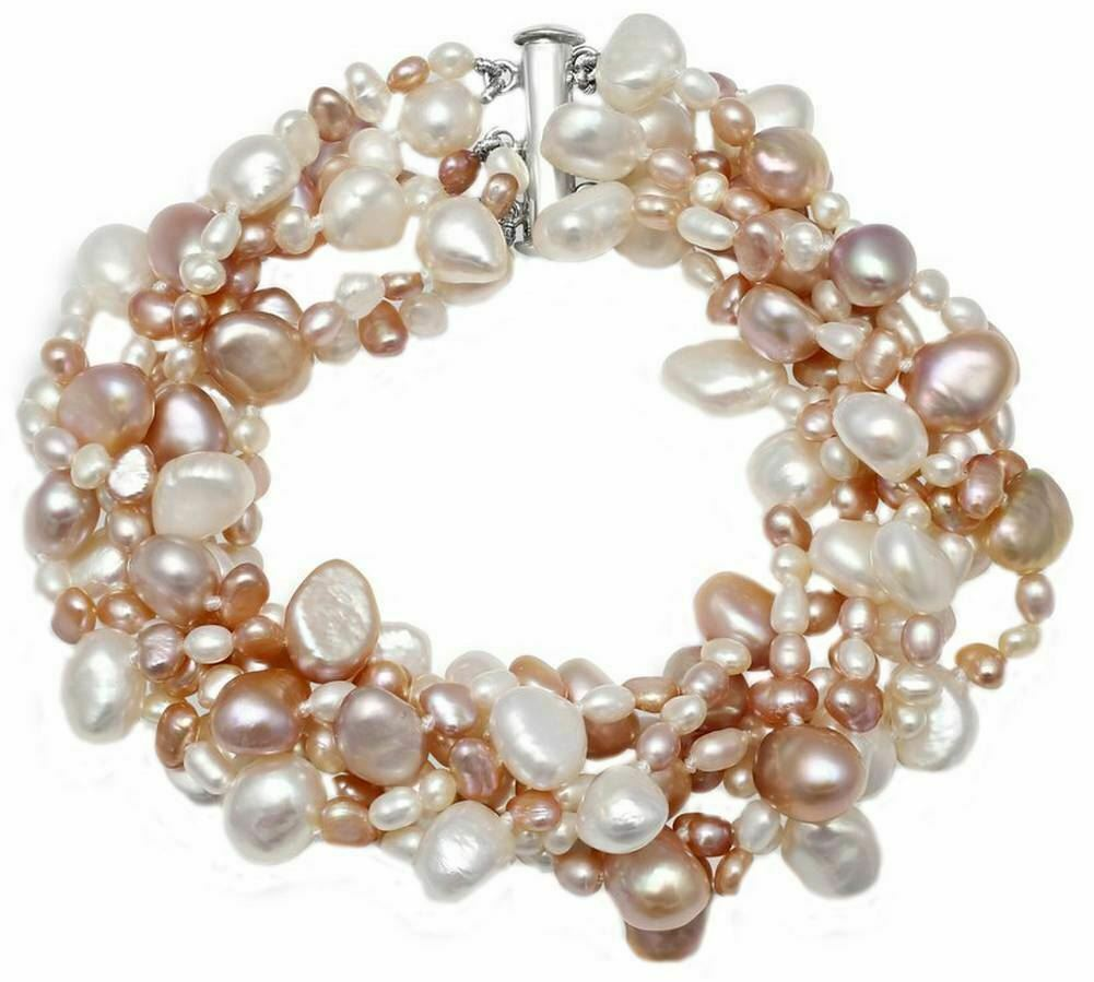 Pearls of the Orient Multi Strand Cultured Pearl Bracelet - Pink White