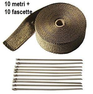 10m-5cm-NASTRO-BENDA-TERMICA-TITANIO-SCARICO-MARMITTE-COLLETTORI-10-FASCETTE