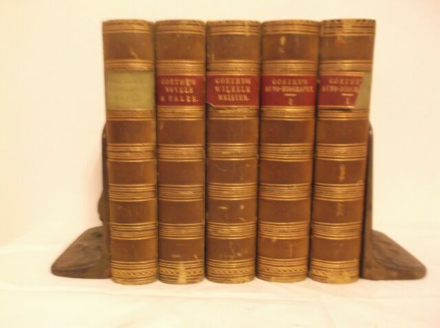 CR) Rare 1861-66 5 Volume Fine Binding Goethe Autobiography Poems Werther Novel