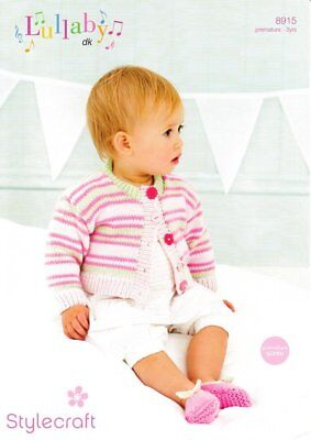 "Stylecraft Knitting Pattern 8915 Babies Cardigans 2 Designs DK 12-22/"" Premature"