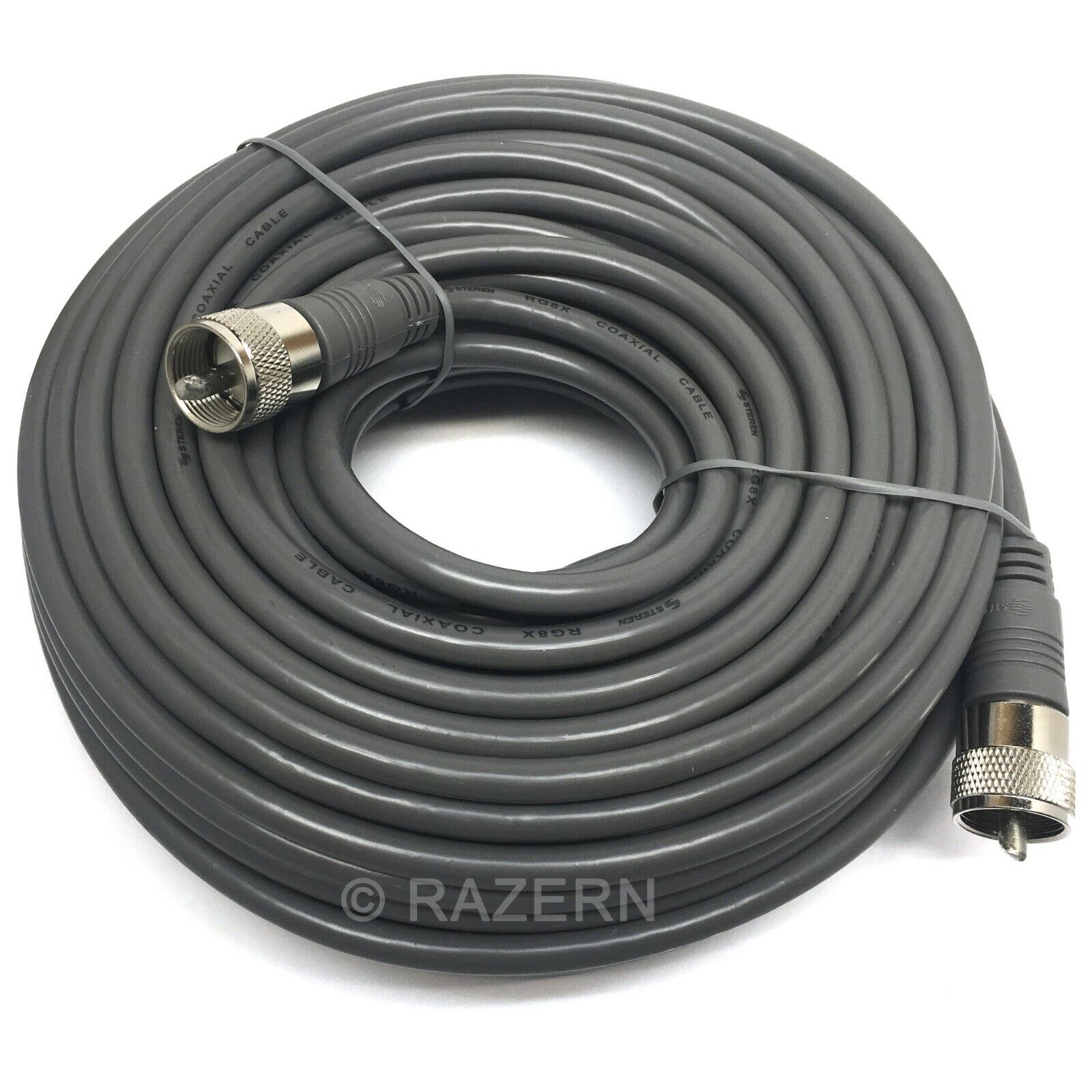 Steren 75 ft Gray RG8X Mini-8 Coax Coaxial PL259 UHF Ham CB Radio Antenna Cable. Available Now for 42.95