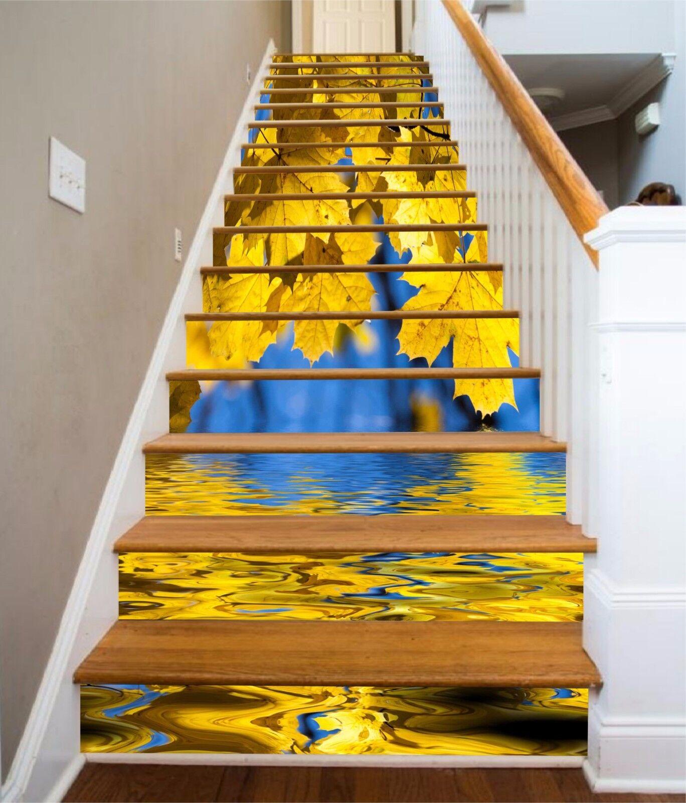 3D Gelb leaves 7 Stair Risers Decoration Photo Mural Vinyl Decal Wallpaper UK