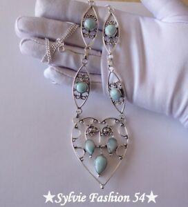 Superbe-grand-collier-artisanal-Plaque-argent-925-cisele-Larimar-Bleu