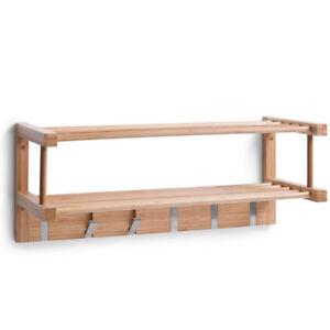 wandgarderobe bambus holz garderobe ablage regal hakenleiste haken kleiderhaken ebay. Black Bedroom Furniture Sets. Home Design Ideas