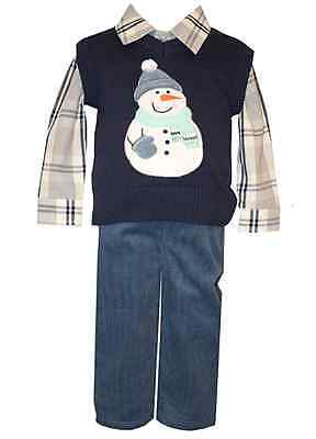 Bonnie Matt/' Scooter Holiday Boys Plaid Snowman Sweater Vest Pant 2T 3T 4T