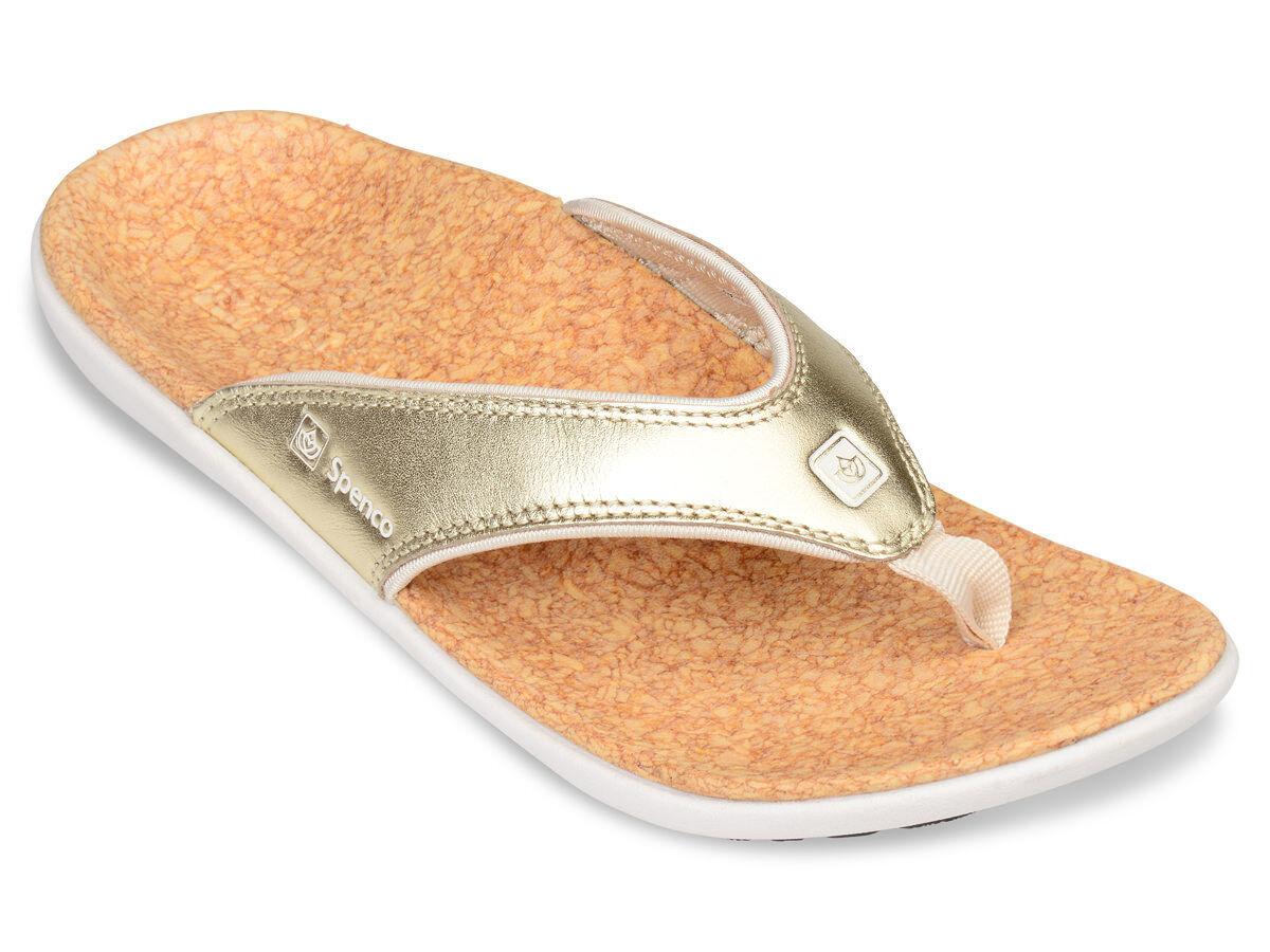 Spenco Para Mujer Polysorb Yumi Ortopédico Tanga Sandalias-Metallic oro