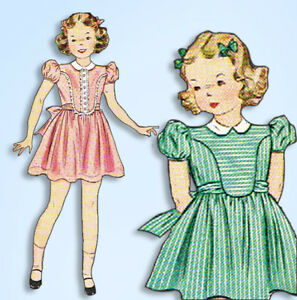 1940s-Vintage-Simplicity-Sewing-Pattern-3368-WWII-Little-Girls-Party-Dress-Sz-8