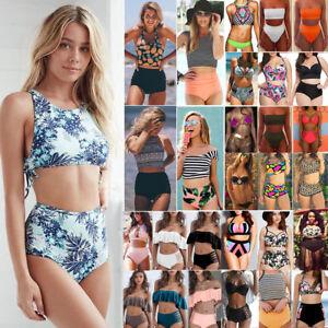 Womens-High-Waisted-Bikini-Set-Padded-Crop-Top-2Pcs-Swimsuit-Swimwear-Bathing-US