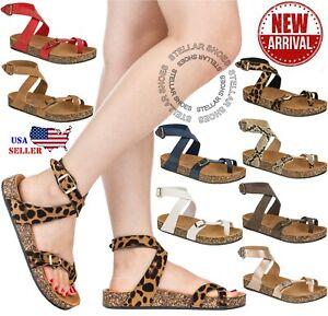NEW-Women-Sandals-Slide-Buckle-T-Strap-Cork-Footbed-Platform-Flip-Flop-Shoes