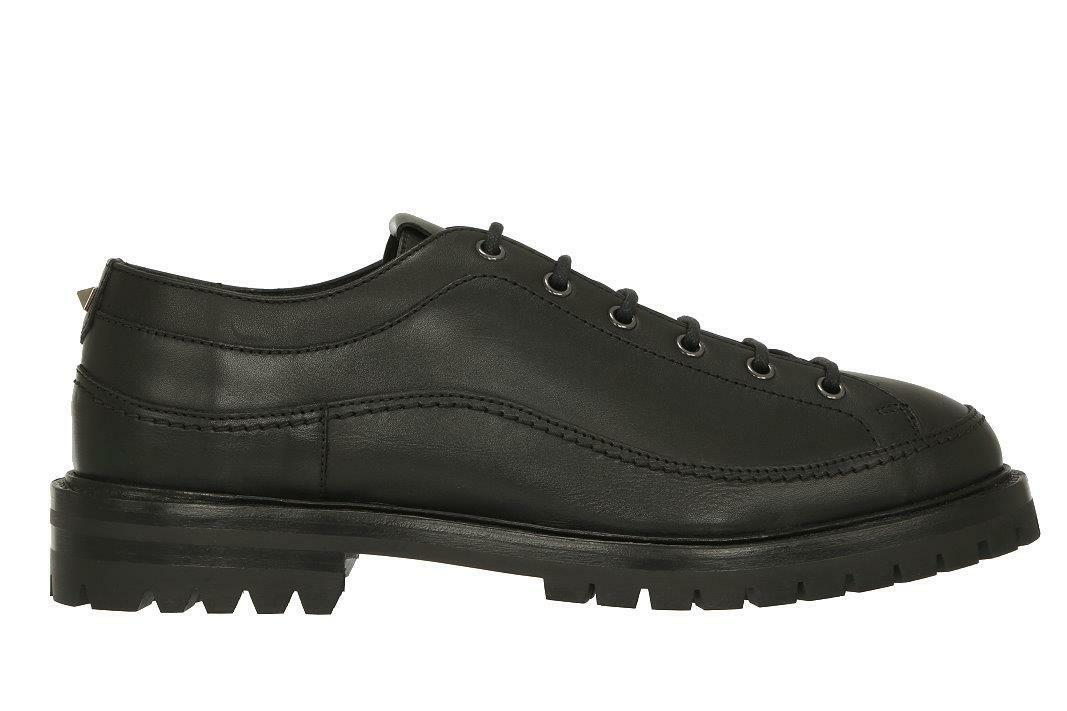 NEW VALENTINO GARAVANI LUXURY BLACK LEATHER LACE-UP CASUAL DERBY SHOES 41 US 8