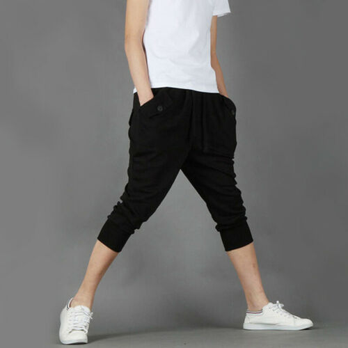 Men Cropped Sweat Pants Pockets Trousers Capri Joggers Jogging Gym Running Solid