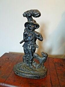 Antique 19th C Victorian Cast Iron Door Porter Woodcutter Smoking Pipe & His Dog