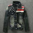 Vintage American Flag Jeans Jacket Denim Coat Hoodie Slim Fit Men Motorcycle