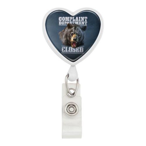 Complaint Department Closed Bear Heart Lanyard Reel Badge ID Card Holder