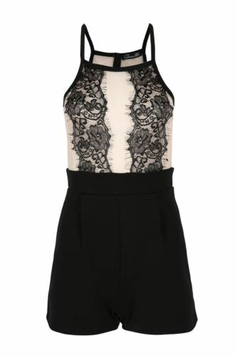 Womens Ladies Contrast Mesh Net Floral Lace Strappy Sleeveless Zip Back Playsuit