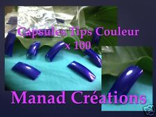 capsules tips french couleur faux ongles gel uv kit nail art cut out bleu marine