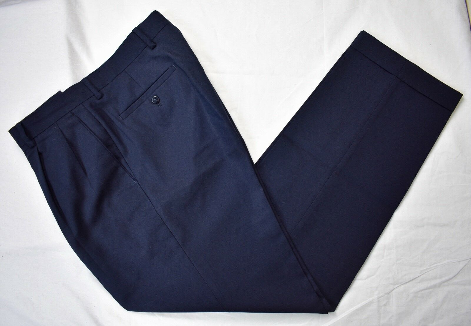 Louis Raphael Luxe Solid Navy bluee 100% Worsted Wool Dress Pleat Trousers 34x32