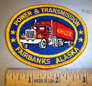 Power-amp-Transmission-Fairbanks-Alaska-Embroidered-patch-Semi-Truck-picture