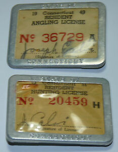 1951 connecticut resident hunting license metal badge for Fishing license ct