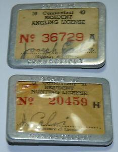 1951 Connecticut Résident Hunting Licence Metal Badge Pinback Button Lot 1949 B3-afficher Le Titre D'origine