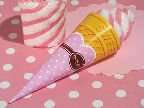 12 Strawberry Swirl Cone Towel Favor wedding bridal shower birthday favors