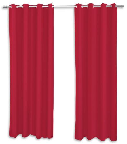2er Pack Ösenvorhang Vorhänge rot 140x260 cm Gardinen Schal Dekoschal Wohnzimmer