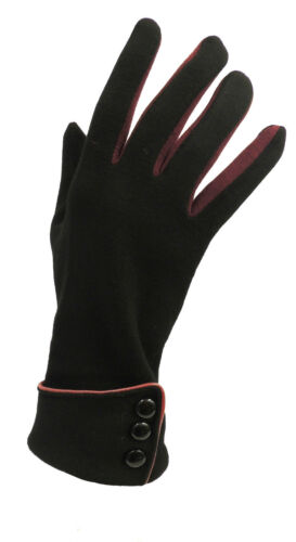 Vintage Style Gloves   New Vintage 1930s 1940s 50s Style Fine Knit Black Button Detail Warm Gloves $15.42 AT vintagedancer.com