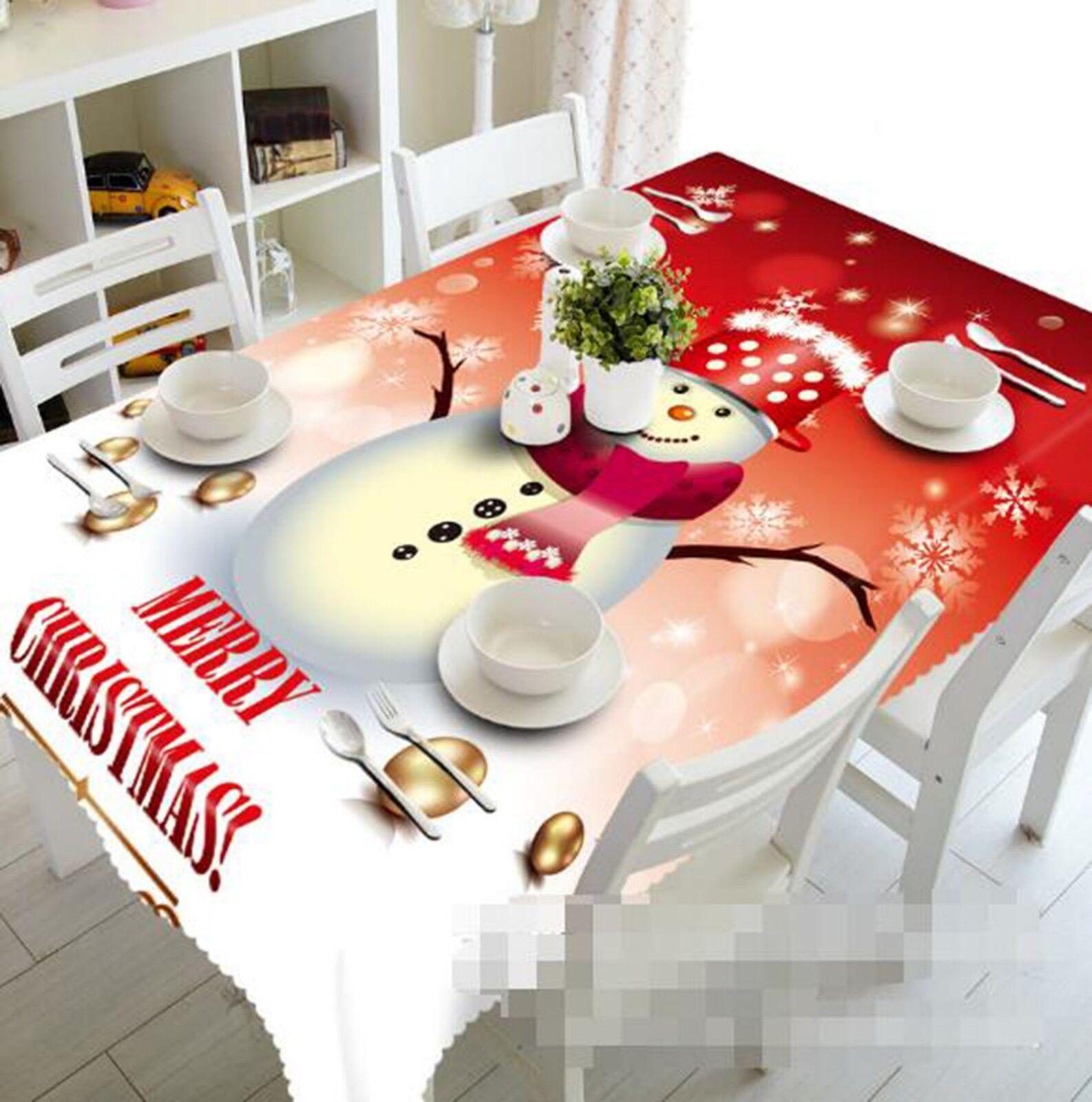 3D Snowman 032 Tablecloth Table Cover Cloth Birthday Party Event AJ Lemon