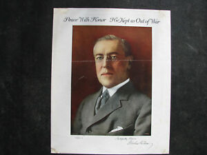 1916-WOODROW-WILSON-Small-Campaign-Poster-13x16-034-034-HE-KEPT-US-OUT-OF-WAR-034-vintage