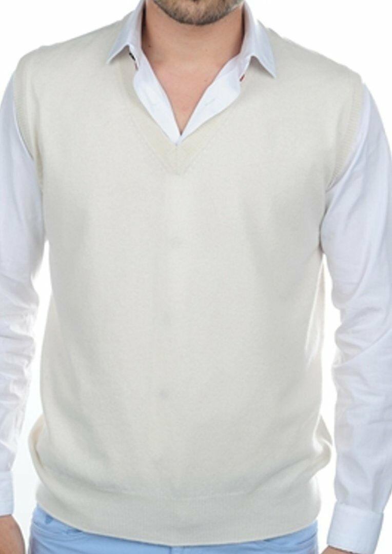 Balldiri 100% Cashmere Herren Pullover Pullunder V-Ausschnitt 2-fädig ecru L
