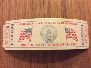 Vintage-1981-PRESIDENT-RONALD-REAGAN-INAUGURATION-Inaugural-Beverage-Ticket-Pass