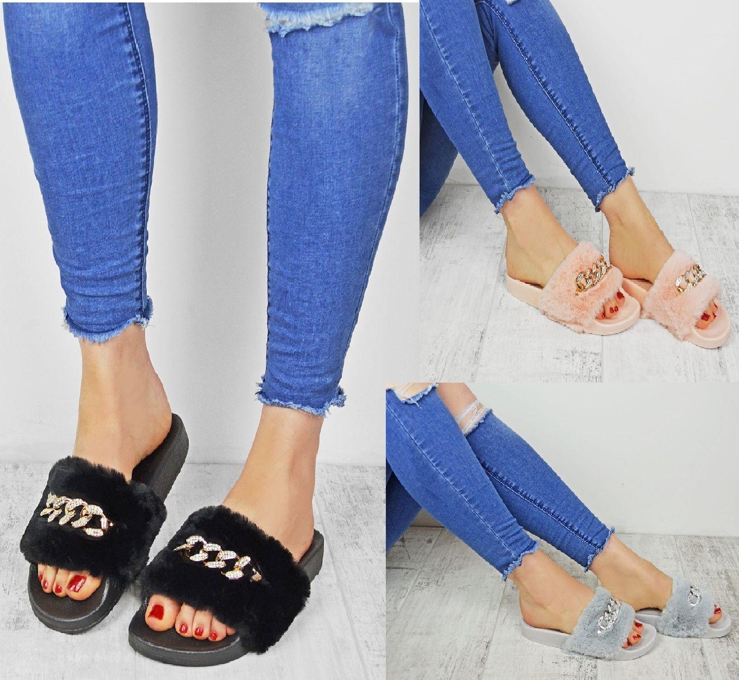 New On Women's Fur Diamante Chain Slider Slip On New Mule Sandals Slippers Shoes 9c9cfa