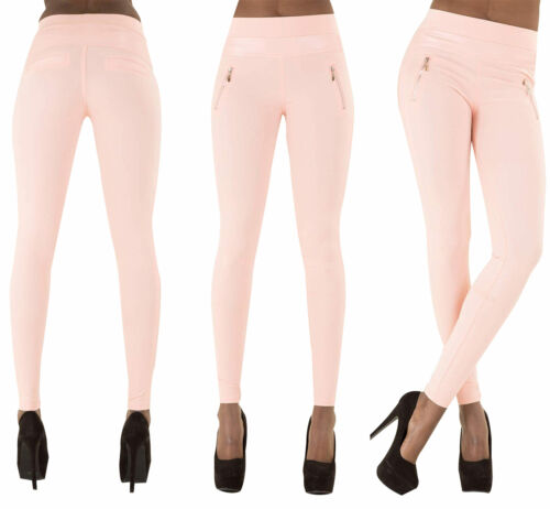 Chaussures femme en cuir synthétique Pantalon Wet Look Skinny Slim Jeans Candy Color Taille UK 6-16