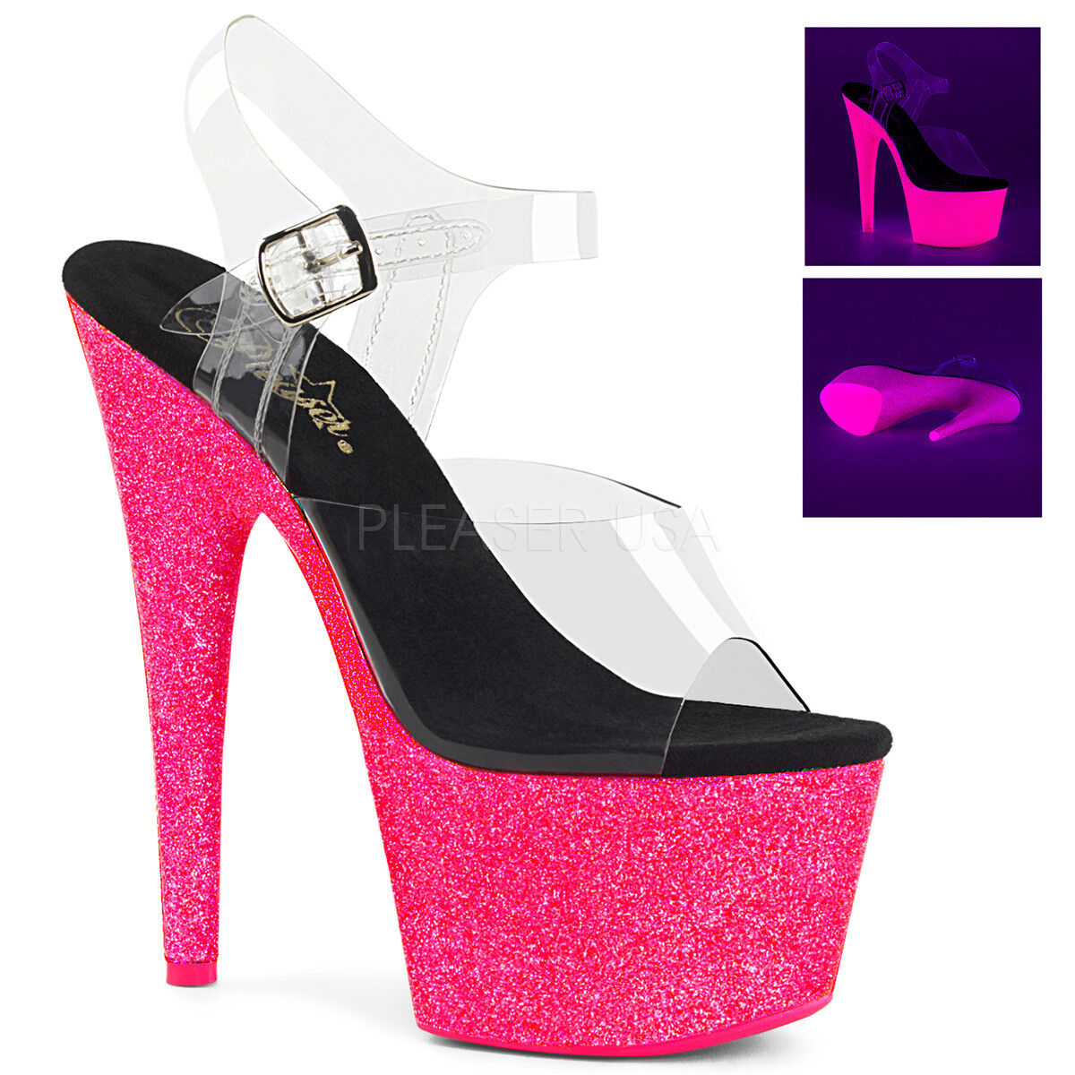 PLEASER Sexy 7    Heel Stripper Blacklight UV Reactive Pink Glitter Platform shoes 8030fd