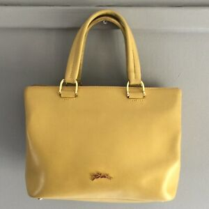 Longchamp-Honore-404-Small-Yellow-Mimosa-Leather-Minimalist-Tote-Bag-Authentic