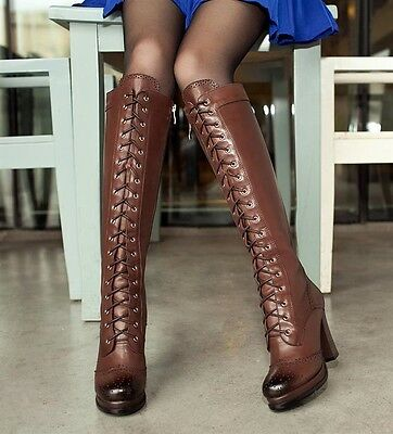 Womens Chic 100% Leather Lace Up Block High Heel Platform Knee High Boots Size