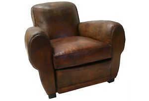 French art deco leather club chair ebay