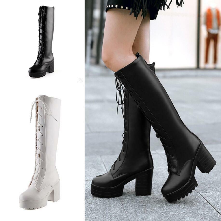 Mode Damen Schnürung Rund Blockabsatz Kniehoch Stiefel Pelz Gefüttert Outdoor