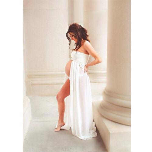 US Pregnant Women Chiffon Maxi Dress Maternity Gown Photography Props Dress New