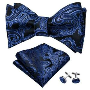 USA Mens Bow Tie Paisley Floral Black Red Solid Blue Bowties Hanky Set Wedding