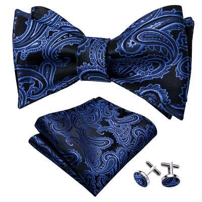 Mens Bow tie Self Solid Gray Hanky Cufflink Set Silk Wedding Formal USA