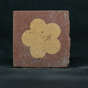 152mm Antique Salvage Original Victorian Glazed Rare Tile 3/""
