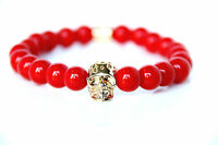 Power Armband Gold Skull mit rotem Perlen Modeschmuck Perlen Bracelet Handkette