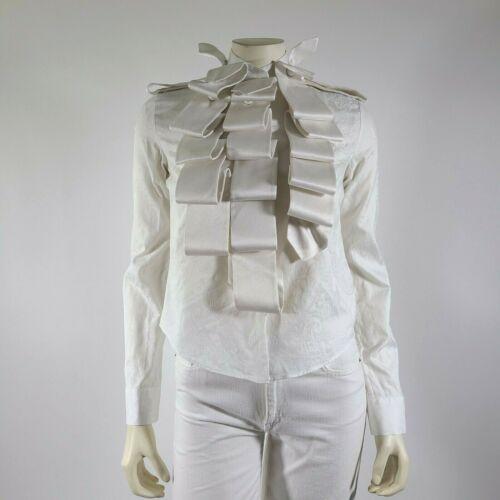 VIKTOR ROLF Ivory Jacquard Ruffled Shirt Blouse