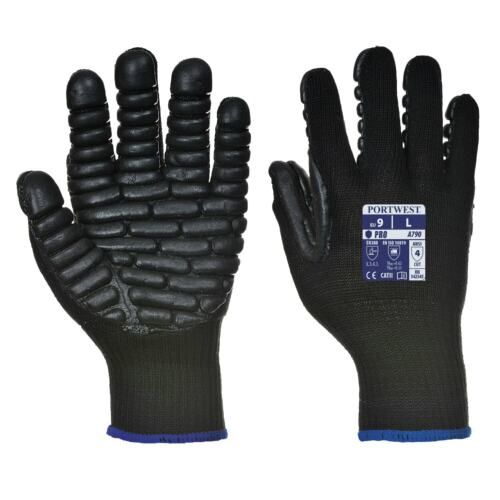 Portwest A790 Anti-Vibration Men Work Gloves Power Tools Wrist /& Hand Protection