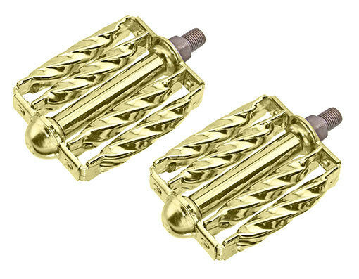 New   Lowrider Double Bicycle Steel Square Twisted Pedals 1 2  gold 204-530  free shipping on all orders