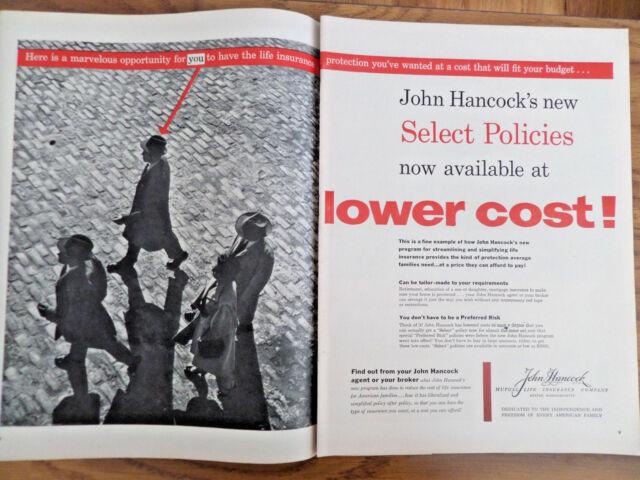 1955 John Hancock Life Insurance Ad New Select Policies ...