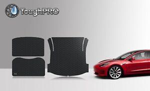 Details about ToughPRO Black Rubber 2017-2019 Tesla Model 3 Frunk & Trunk  Mats & Storage Mat